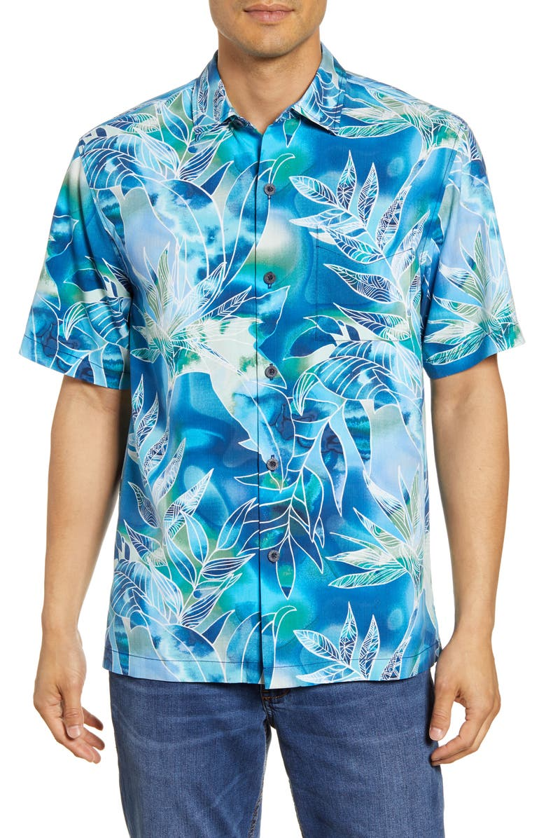 TOMMY BAHAMA Azul Lagoon Classic Fit Short Sleeve Silk Button-Up Sport Shirt, Main, color, POOL PARTY BLUE