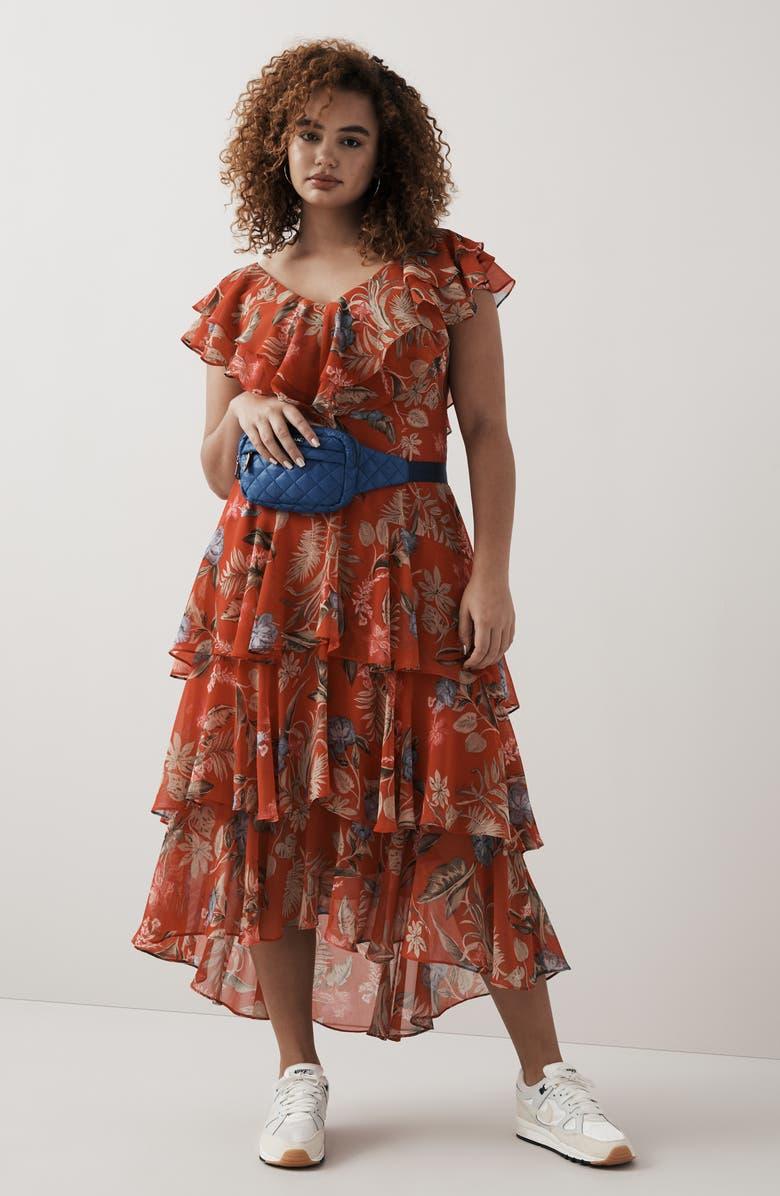 WAYF Chelsea Tiered Ruffle Maxi Dress, Main, color, 002