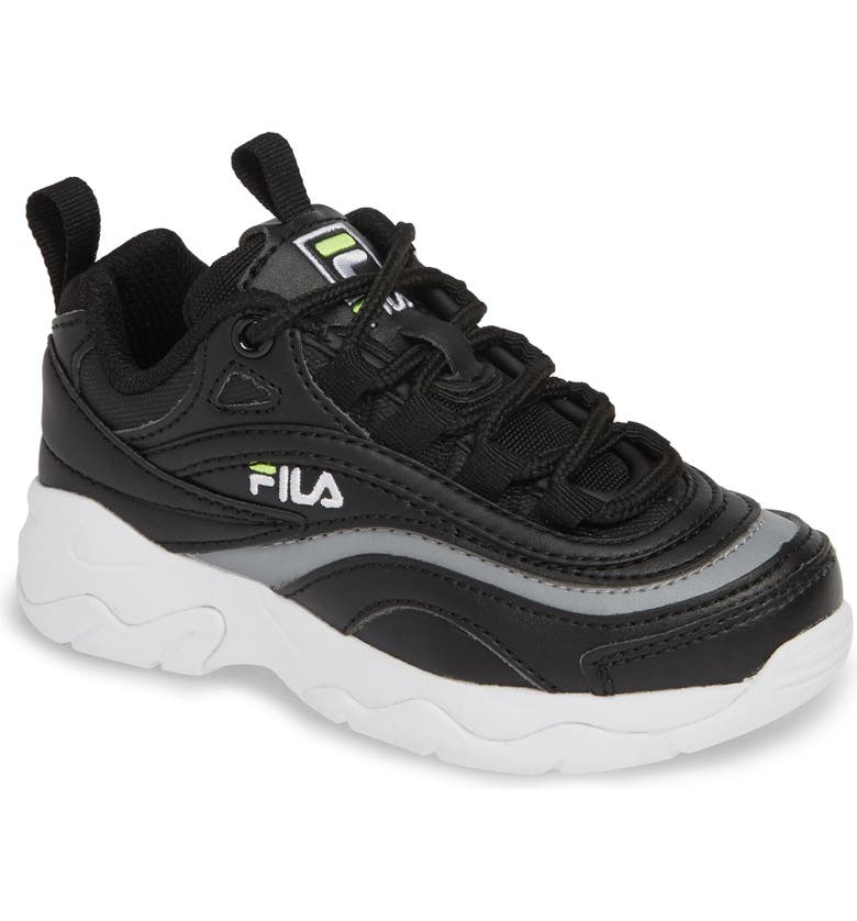 FILA Ray Sneaker, Main, color, BLACK/ SAFETY YELLOW/ SILVER