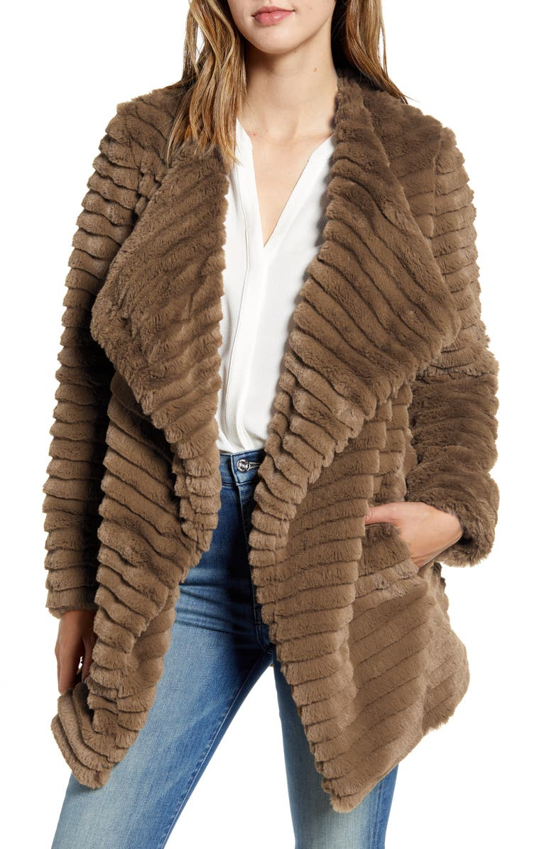 BB DAKOTA What A Girl Wants Faux Fur Coat, Main, color, BRONZE