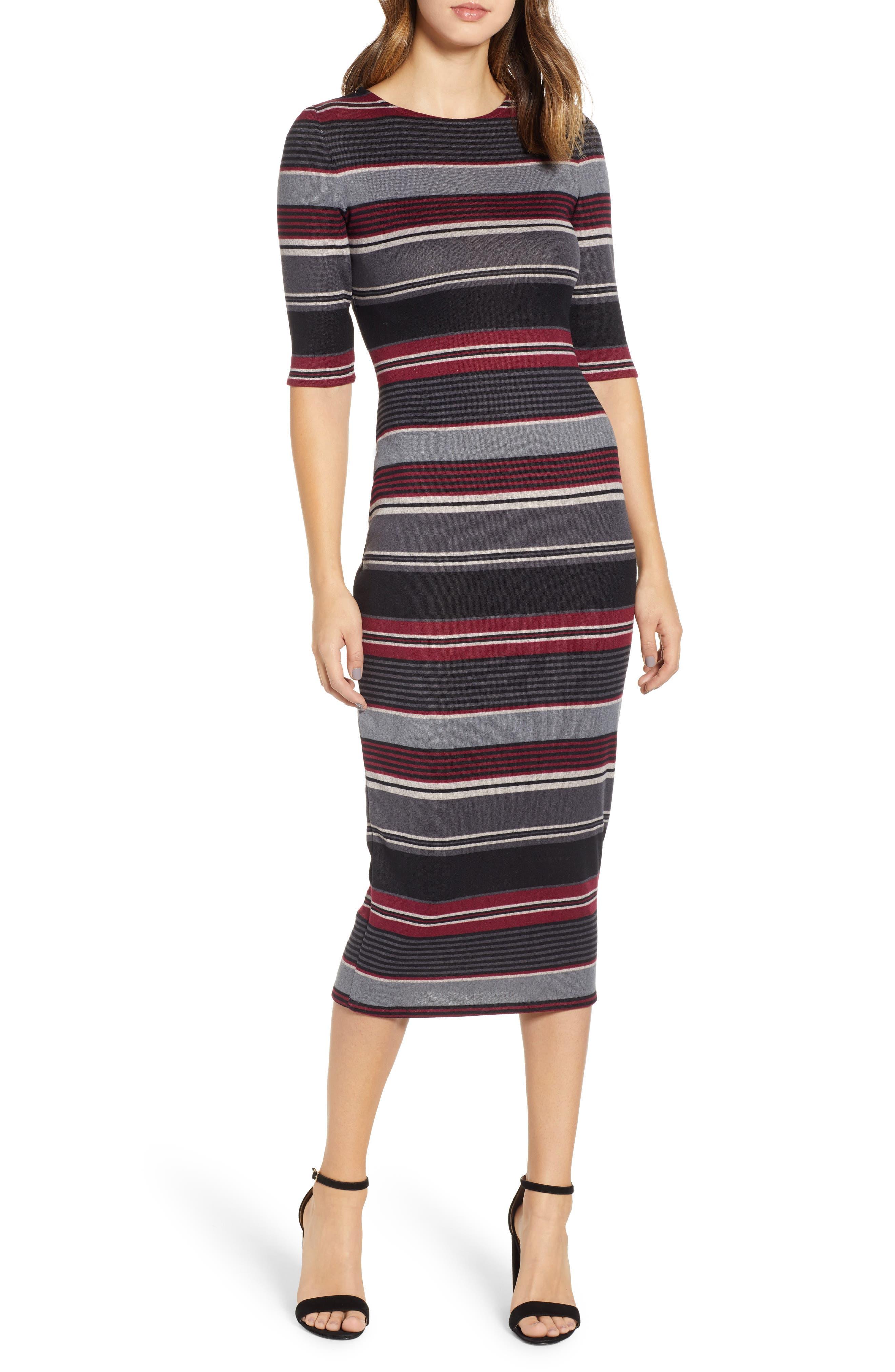 Sentimental Ny Stripe Body-Con Midi Dress, Grey