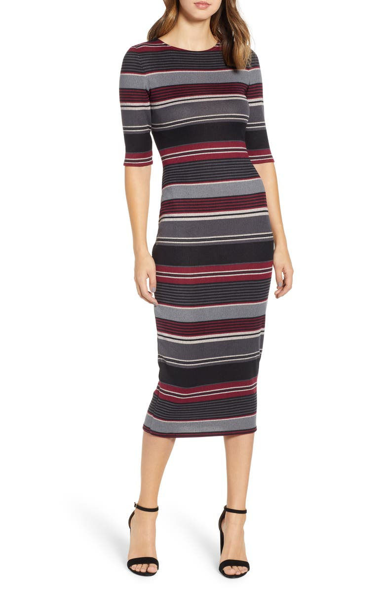 Sentimental NY Stripe Body Con Midi Dress