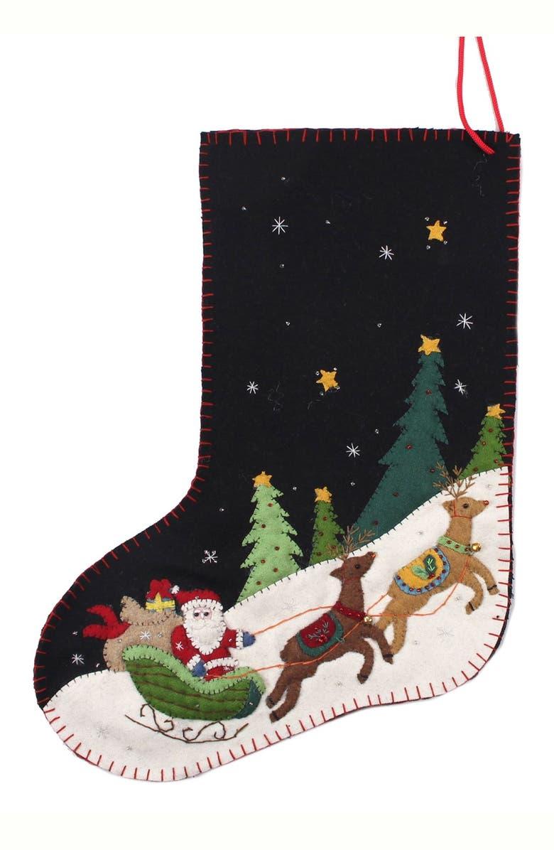 NEW WORLD ARTS Santa on Sleigh Stocking, Main, color, BLACK MULTI