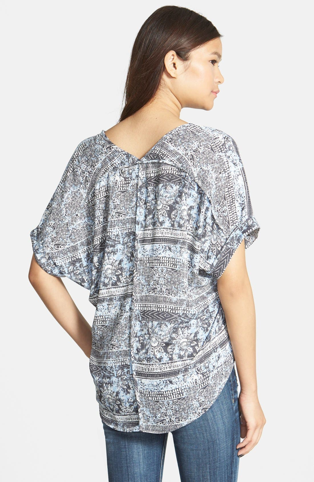 ,                             Lush Cuff Sleeve Woven Tee,                             Alternate thumbnail 77, color,                             404