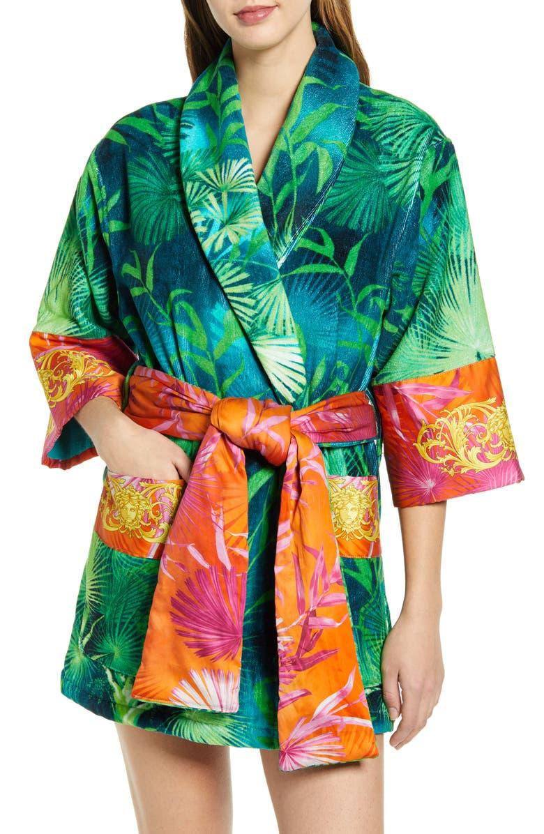 VERSACE Jungle Print Short Robe, Main, color, GREEN/ PRINT
