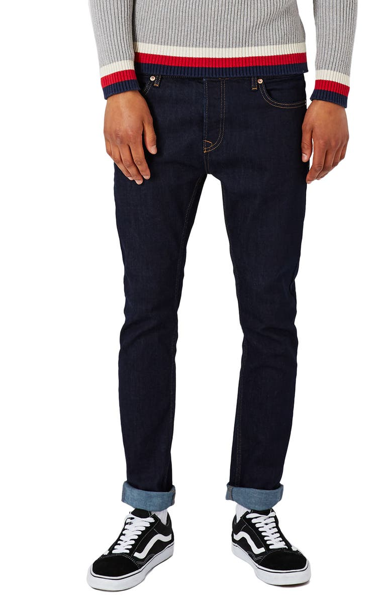 TOPMAN Stretch Skinny Fit Raw Denim Jeans, Main, color, BLUE