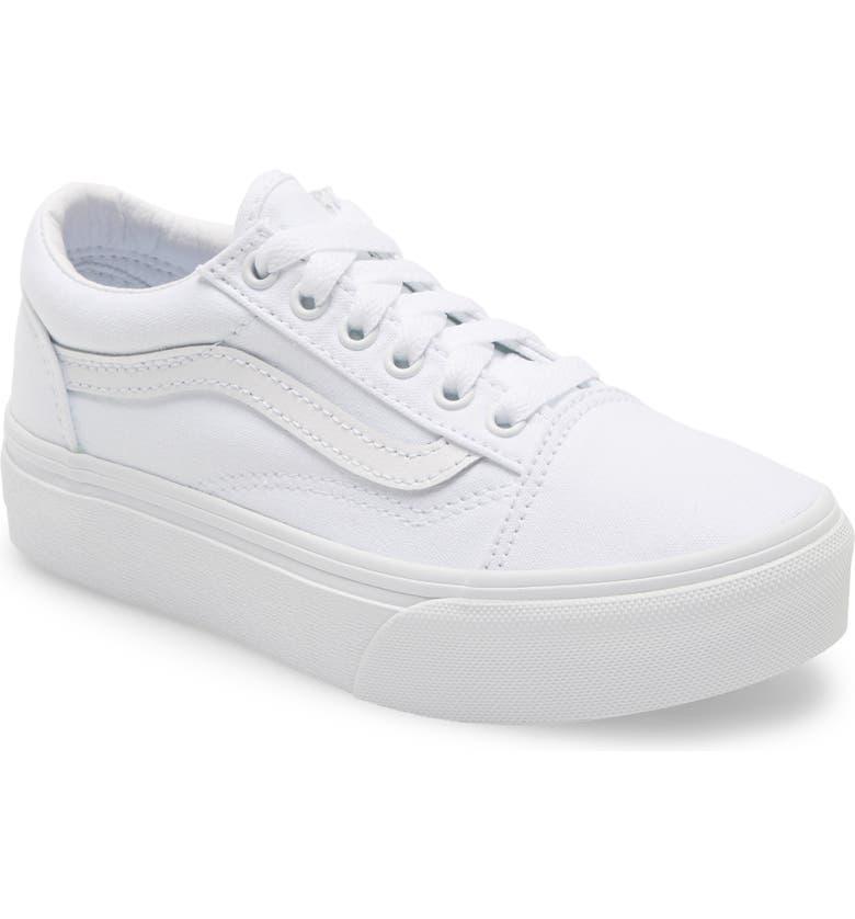 VANS Old Skool Platform Sneaker, Main, color, TRUE WHITE/ TRUE WHITE
