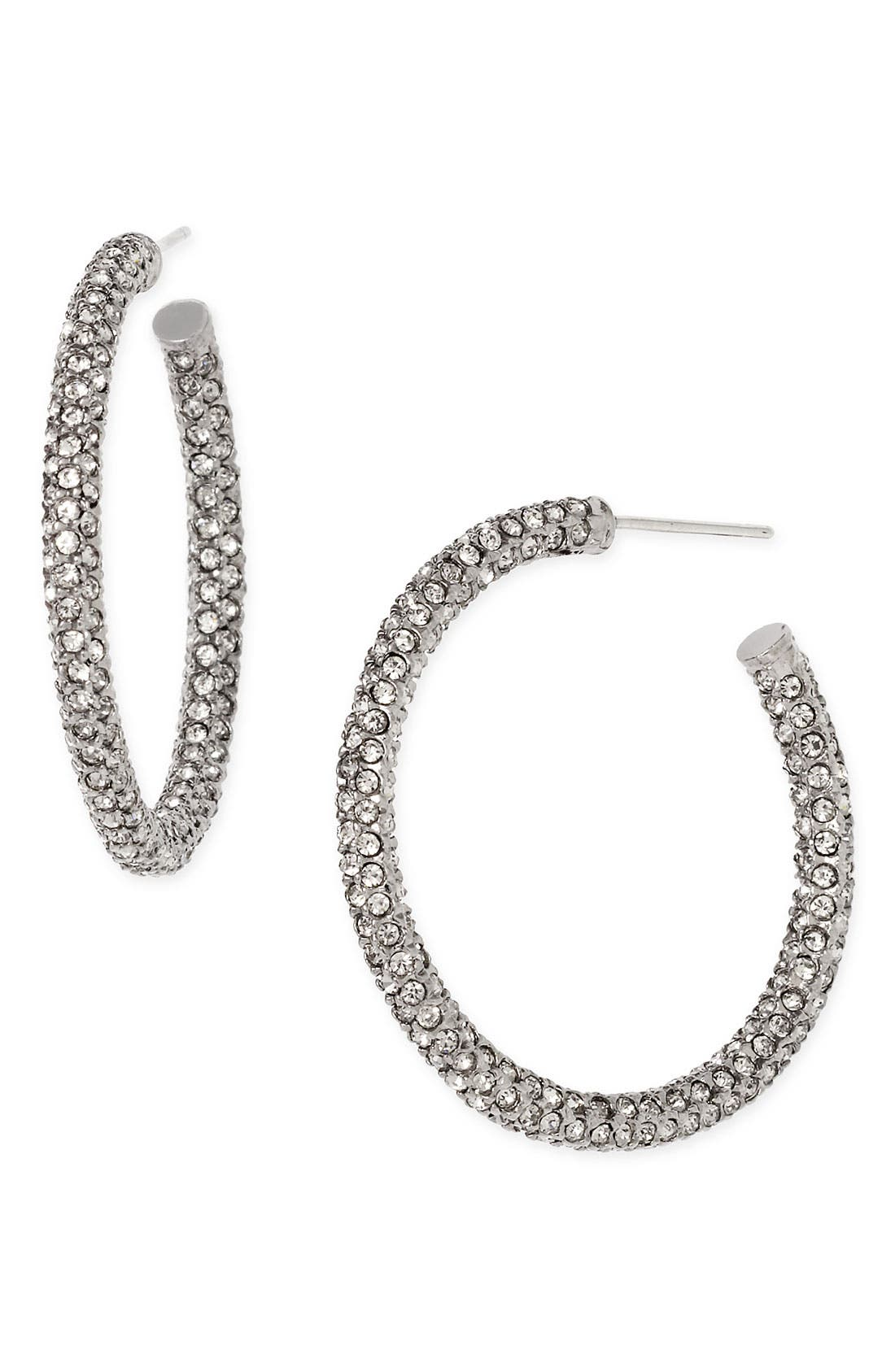 ,                             Medium Pavé Hoop Earrings,                             Main thumbnail 1, color,                             001