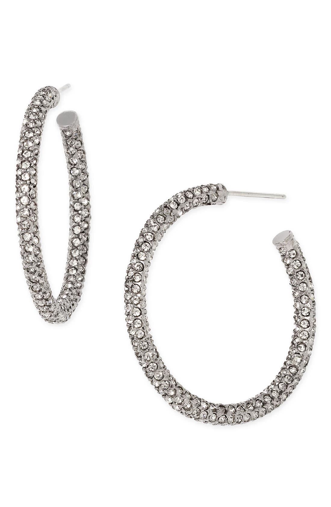 Medium Pavé Hoop Earrings, Main, color, 001