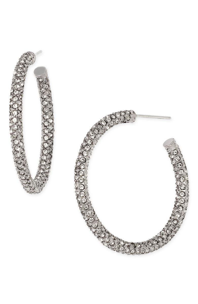 NADRI Medium Pavé Hoop Earrings, Main, color, BLACK DIAMOND