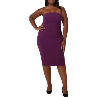 Plus Size Maree Pour Toi Bustier Off The Shoulder Crepe Sheath Dress, Purple