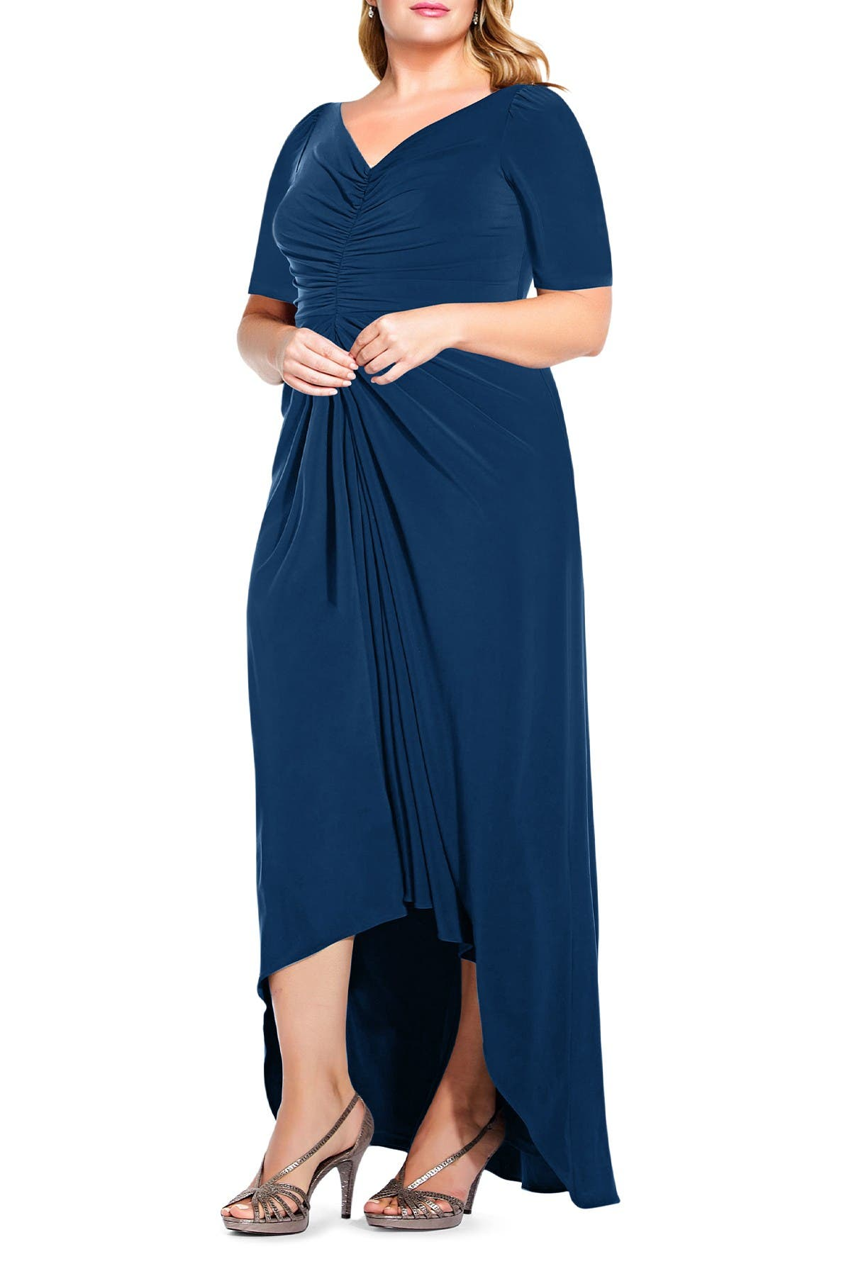 Image of Adrianna Papell High/Low V-Neck Ruched Gown