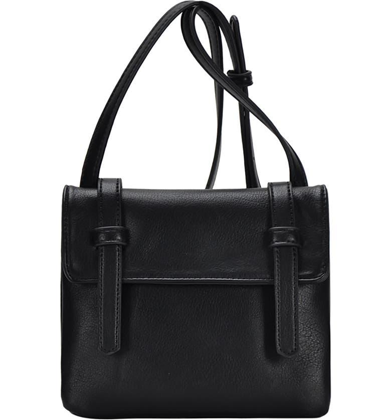 ANTIK KRAFT Flap Faux Leather Crossbody Bag, Main, color, BLACK
