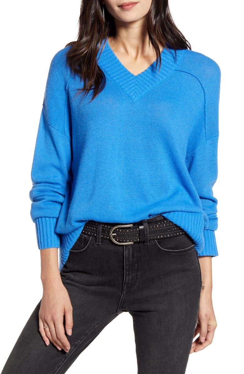 TREASURE & BOND Seam Detail Sweater, Main, color, BLUE PALACE