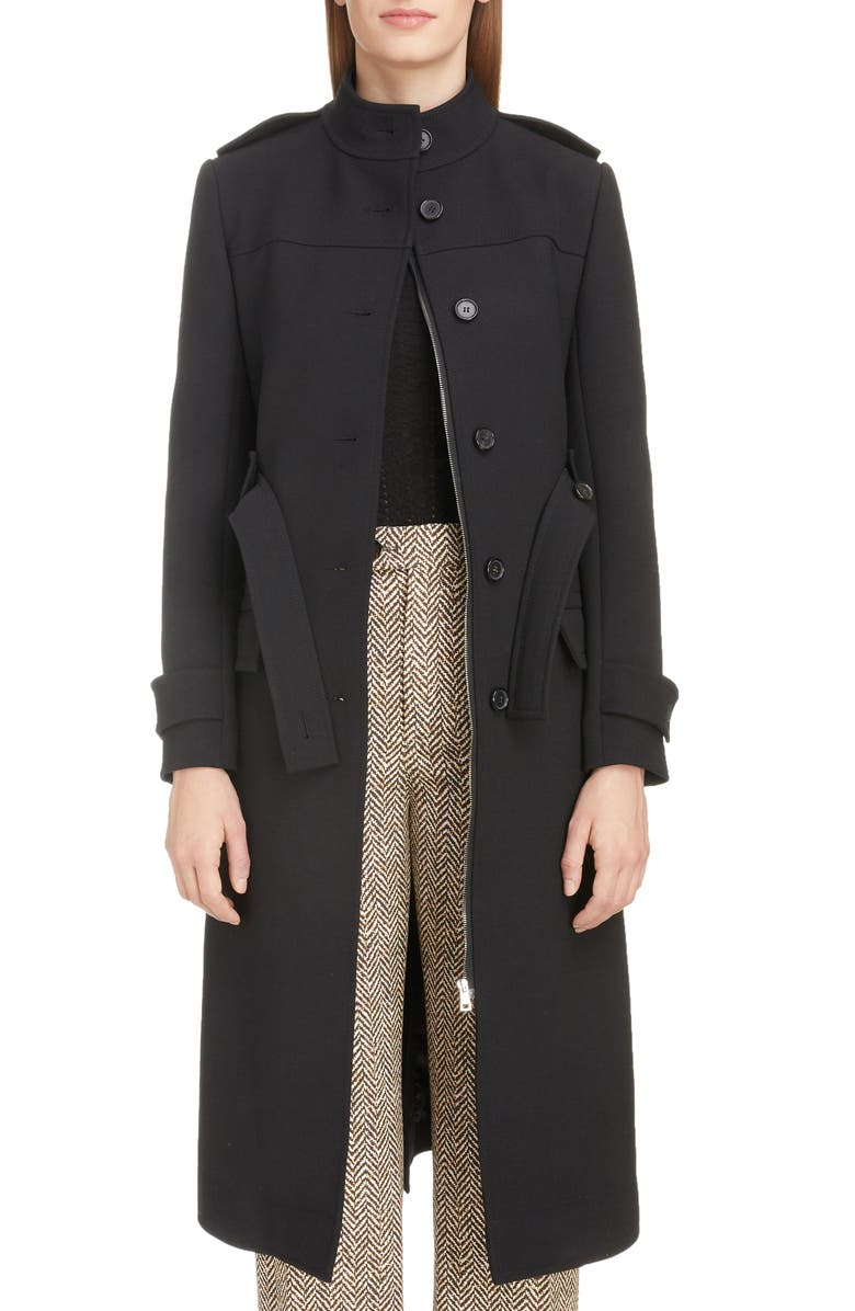 CHLOÉ Stand Collar Belted Wool Blend Coat, Main, color, BLACK