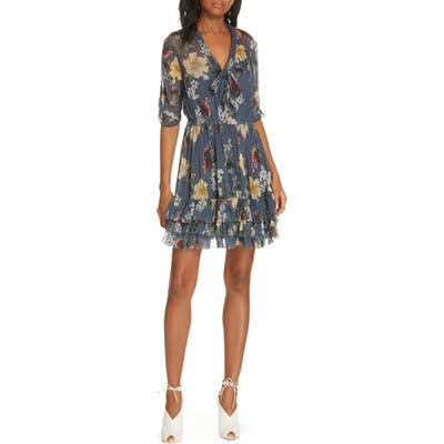Nicholas Floral Ruffle Silk Dress, Blue/green
