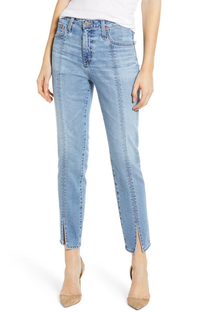 AG Isabelle High Waist Split Hem Ankle Straight Leg Jeans, Main, color, 468