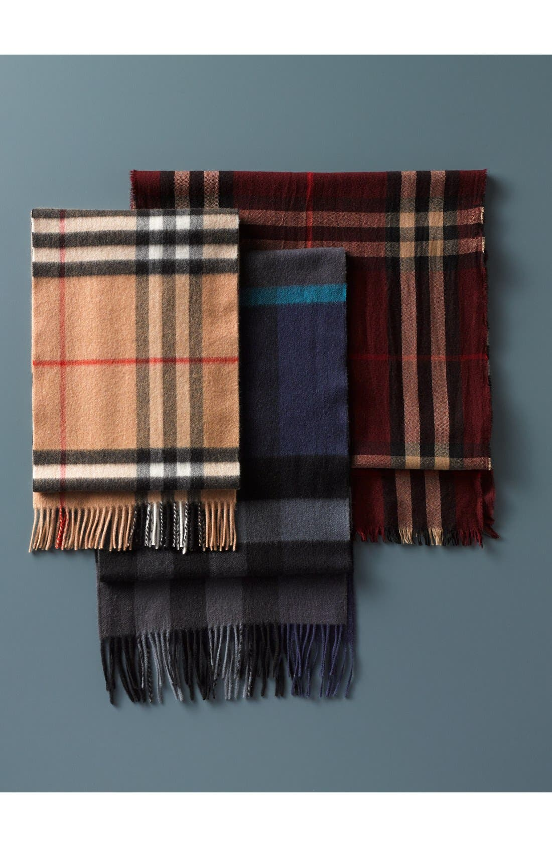 ,                             Check Merino Wool & Cashmere Scarf,                             Alternate thumbnail 2, color,                             032