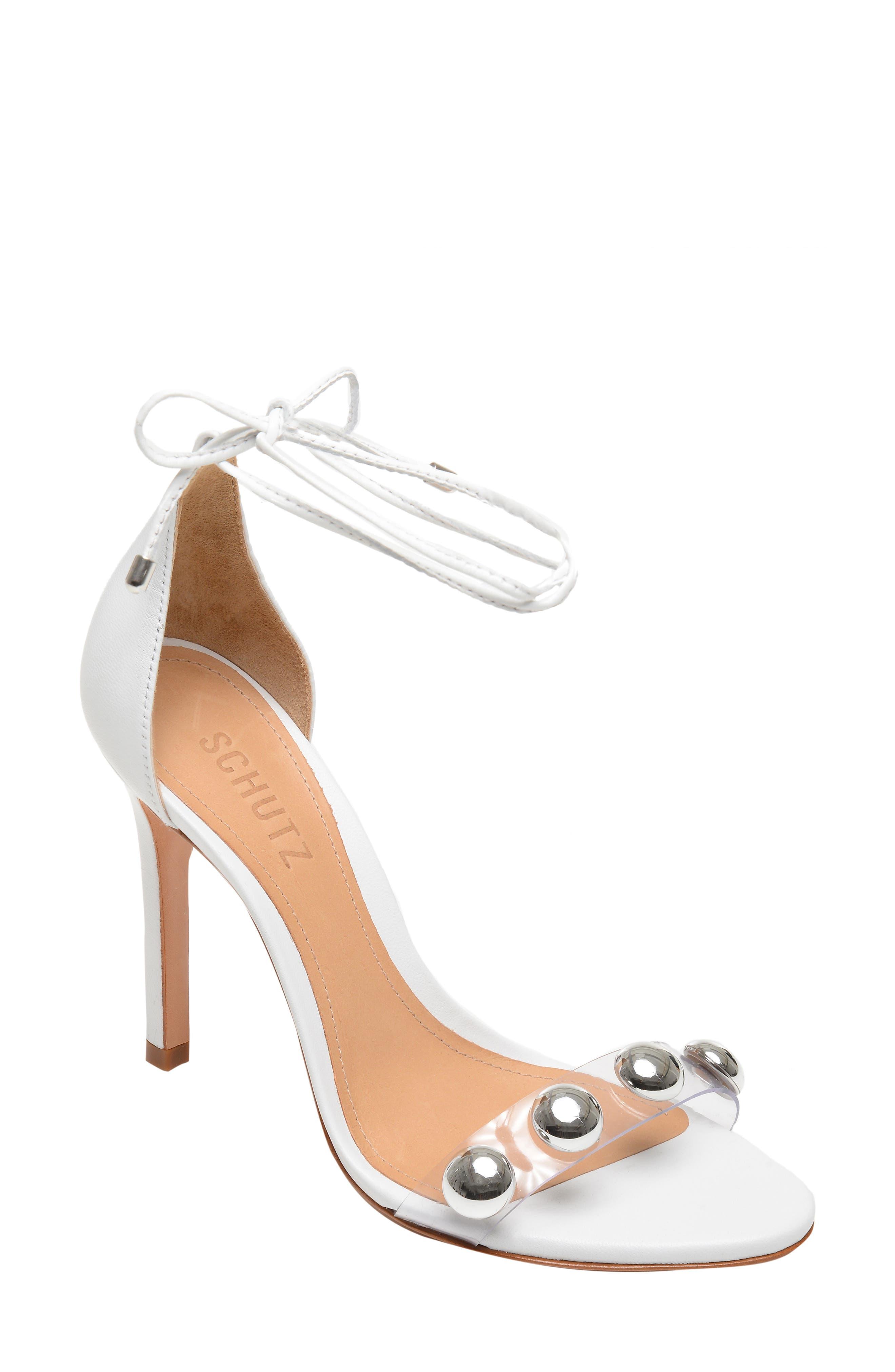 Schutz Ramon Studded Wraparound Sandal, White