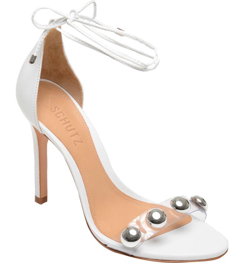 SCHUTZ Ramon Studded Wraparound Sandal, Main, color, WHITE LEATHER
