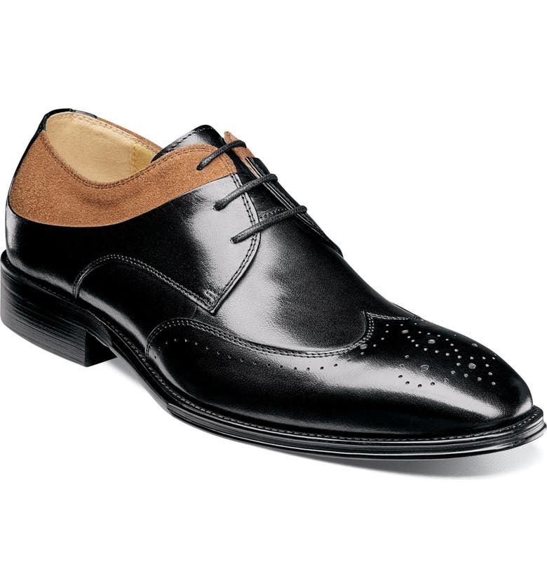 STACY ADAMS Hewlett Wingtip, Main, color, BLACK AND TAN