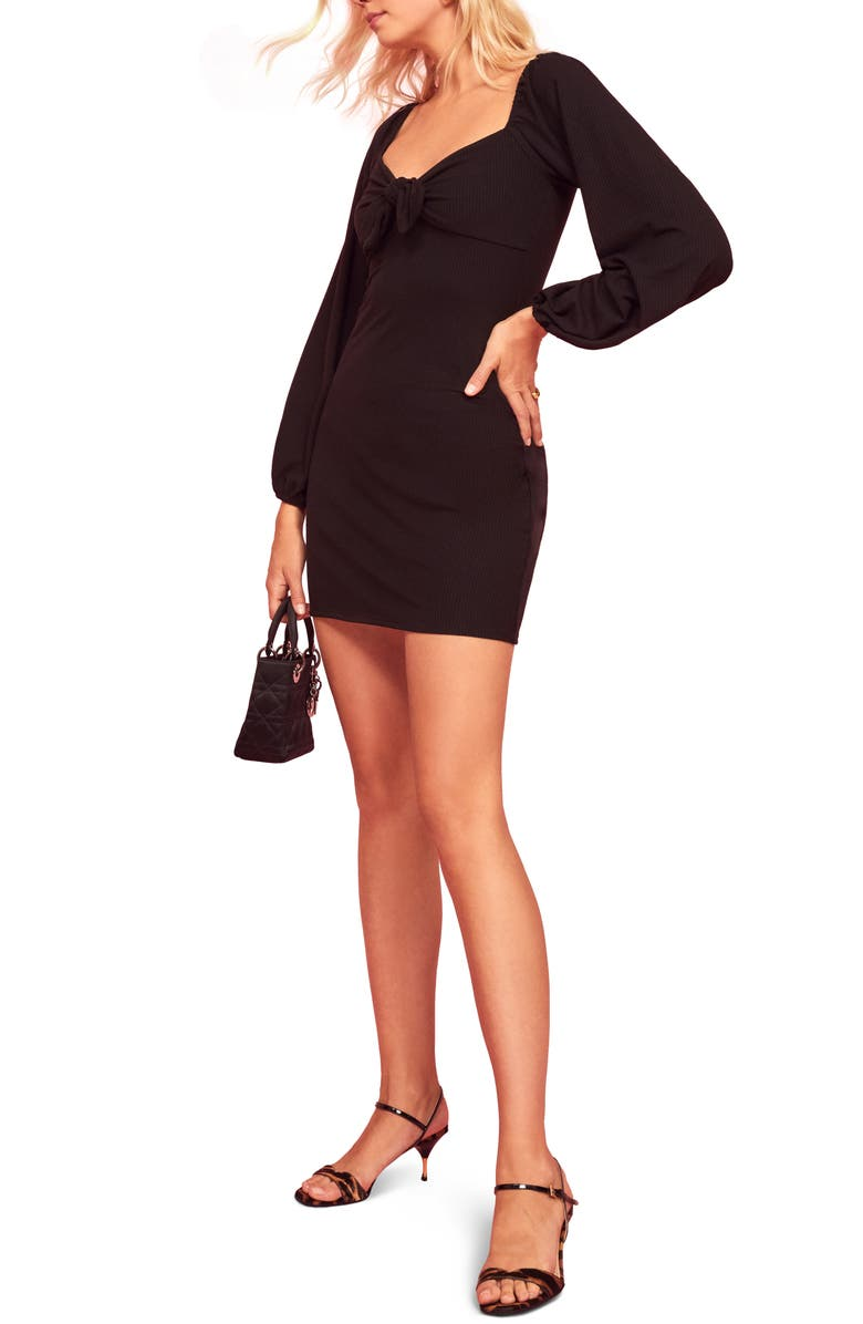 REFORMATION Frenchy Minidress, Main, color, BLACK