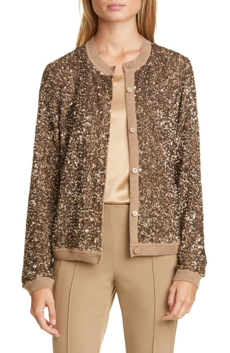 LAFAYETTE 148 NEW YORK Jade Sequin Sweater Jacket, Main, color, COGNAC