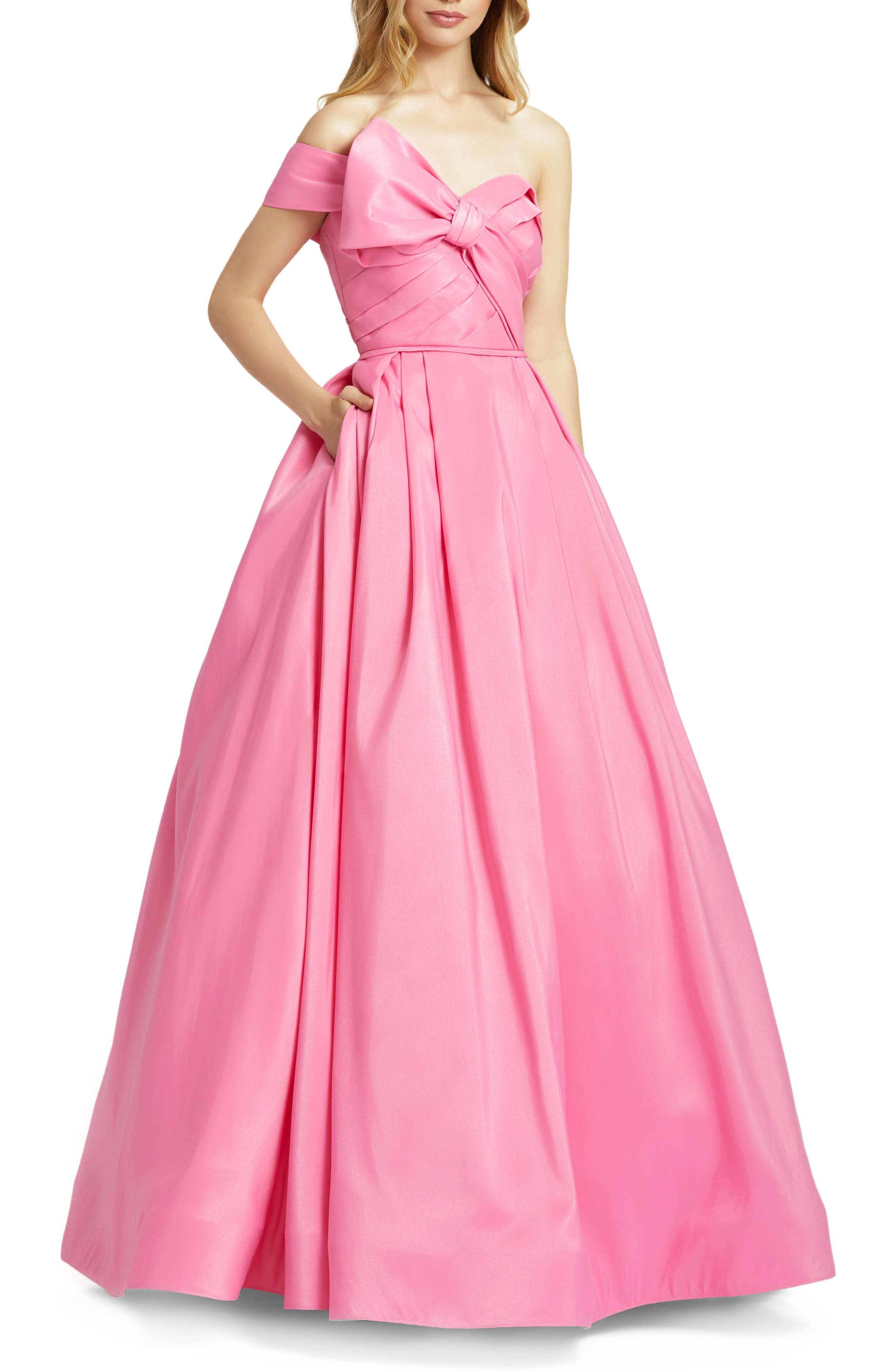 1950s Style Clothing & Fashion Womens MAC Duggal One-Shoulder Bow Ballgown Size 4 - Pink $398.00 AT vintagedancer.com