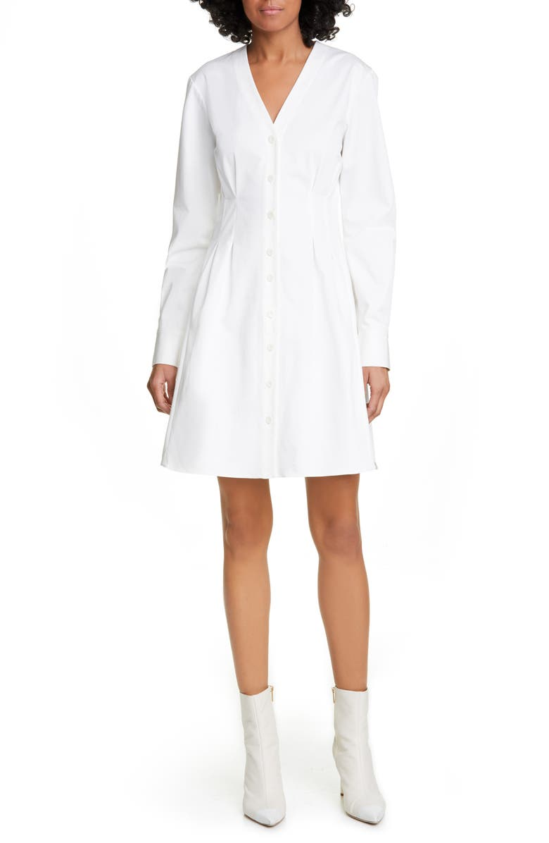 TIBI Dominic Long Sleeve Twill Shirtdress, Main, color, WHITE
