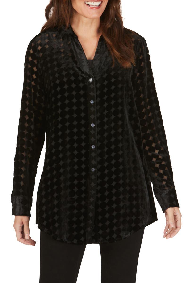 FOXCROFT Faith Velvet Burnout Tunic Shirt, Main, color, BLACK