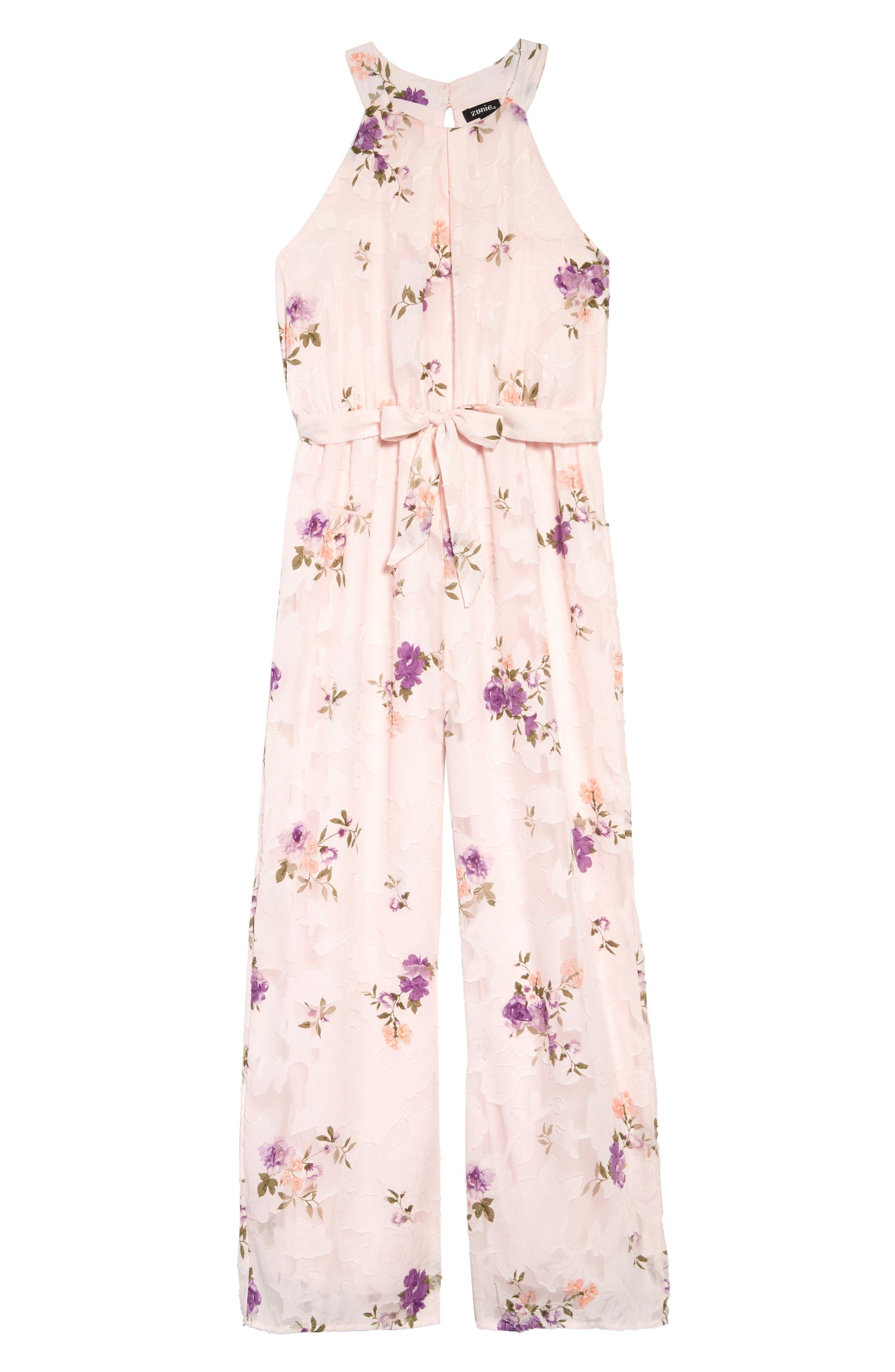 ,                             Floral Burnout Chiffon Jumpsuit,                             Main thumbnail 1, color,                             BLUSH
