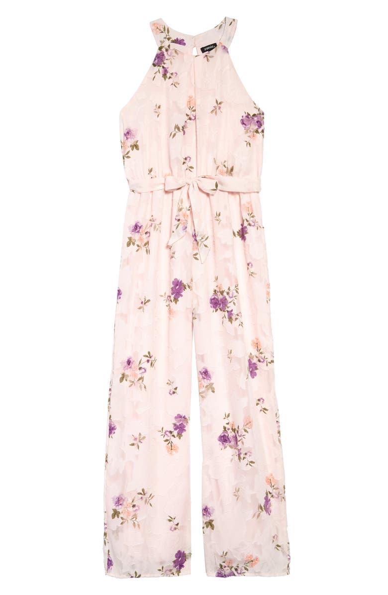 ZUNIE Floral Burnout Chiffon Jumpsuit, Main, color, BLUSH