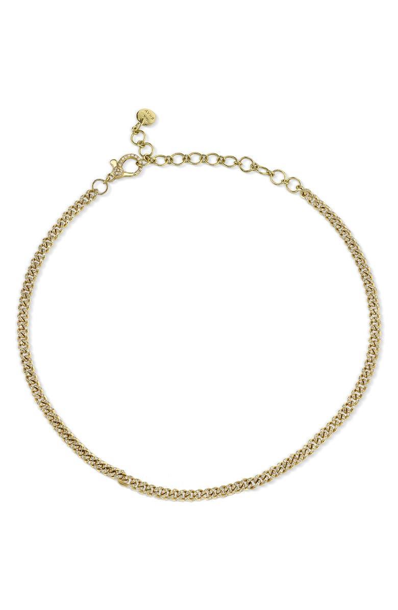 SHAY Baby Link Diamond Pavé Chain Choker, Main, color, YELLOW GOLD/ DIAMOND
