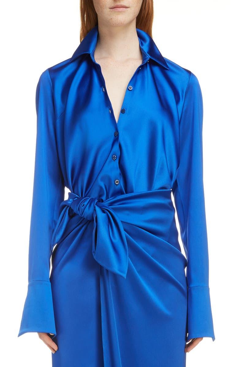 BALENCIAGA Stretch Satin Drape Back Shirt, Main, color, 4210-ROYAL BLUE