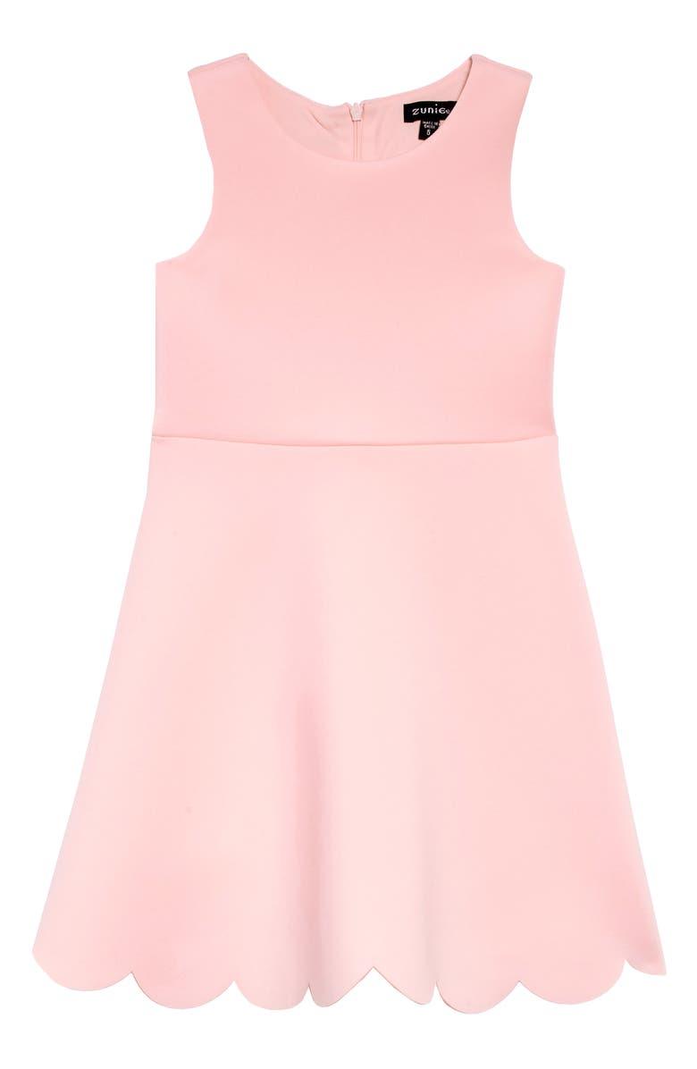 ZUNIE Scallop Hem Scuba Dress, Main, color, BLUSH