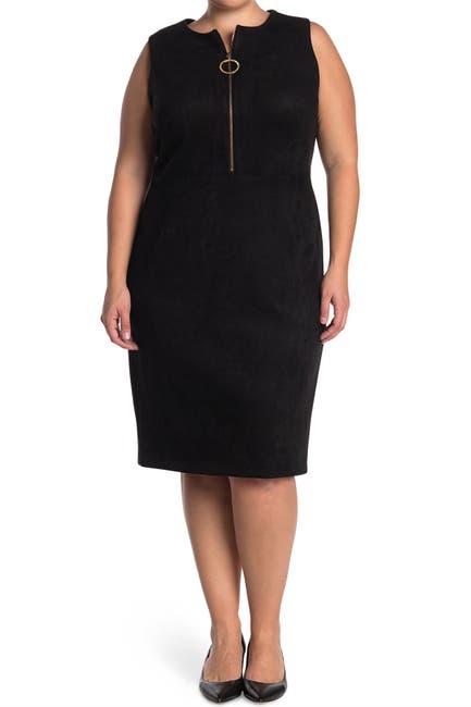 Image of Calvin Klein Faux Suede O-Ring Zip Sheath Dress