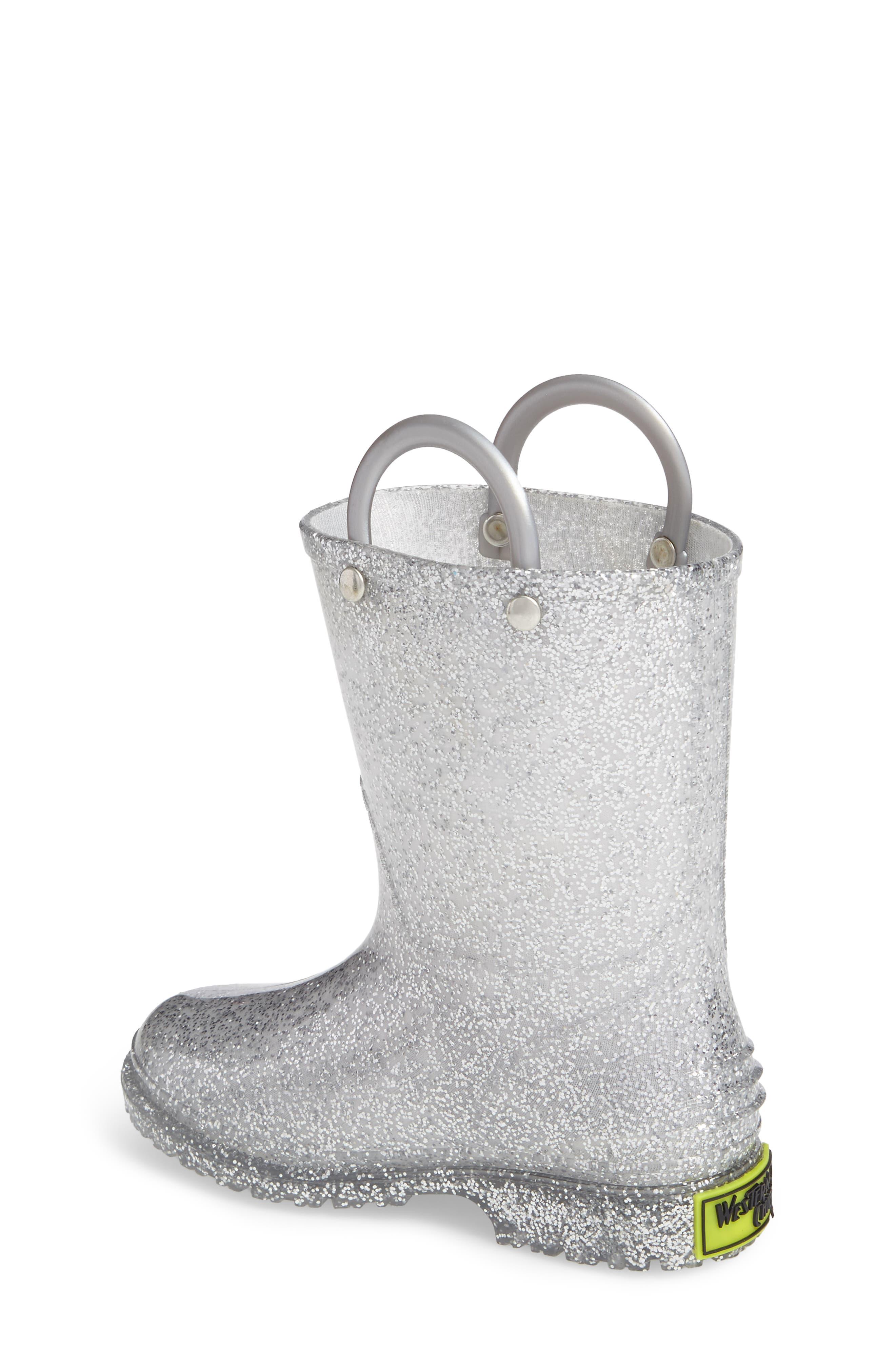 ,                             Glitter Waterproof Rain Boot,                             Alternate thumbnail 2, color,                             SILVER
