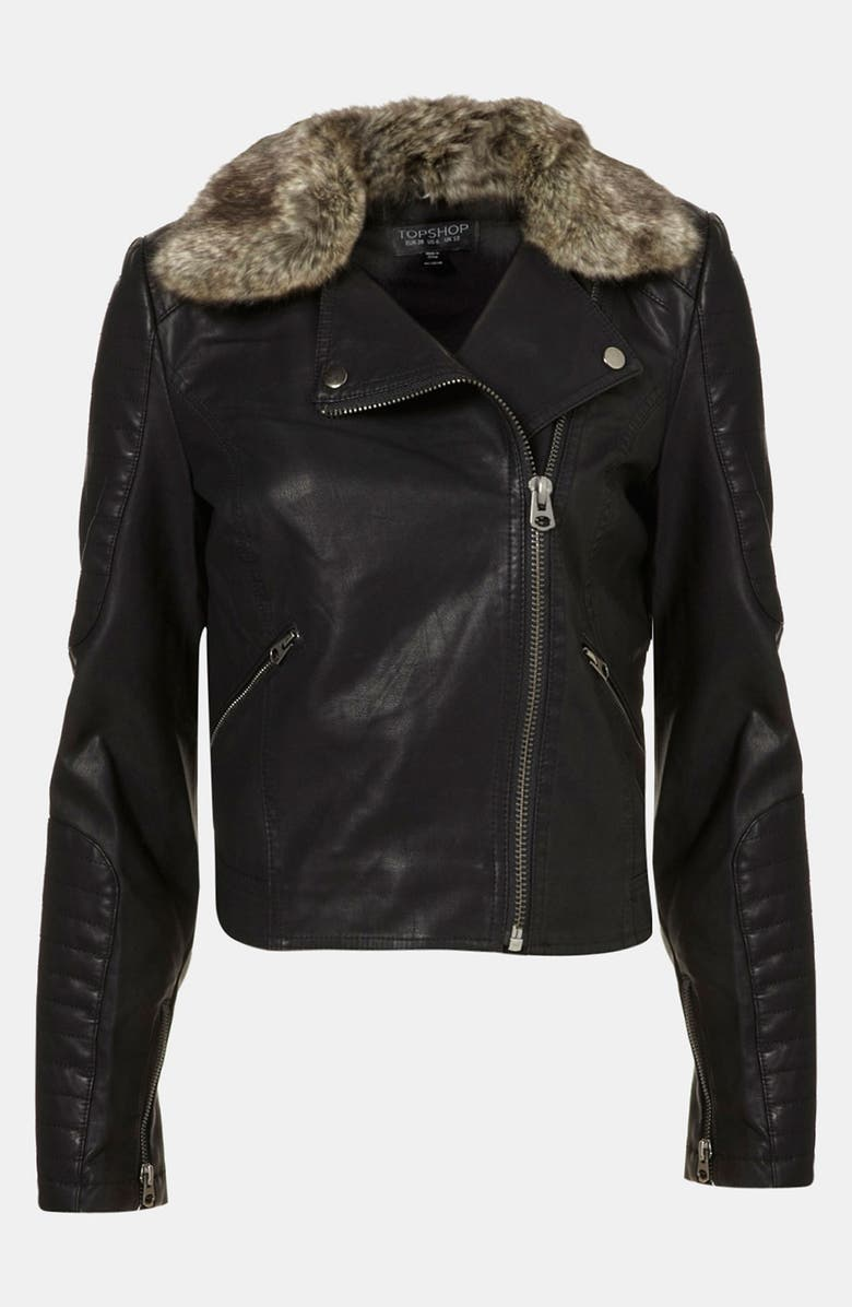 TOPSHOP 'Maddox' Faux Leather Jacket, Main, color, 001