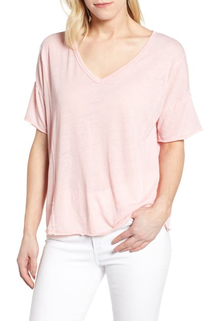 Lucky Brand Tops SEAM DETAIL BURNOUT V-NECK TEE