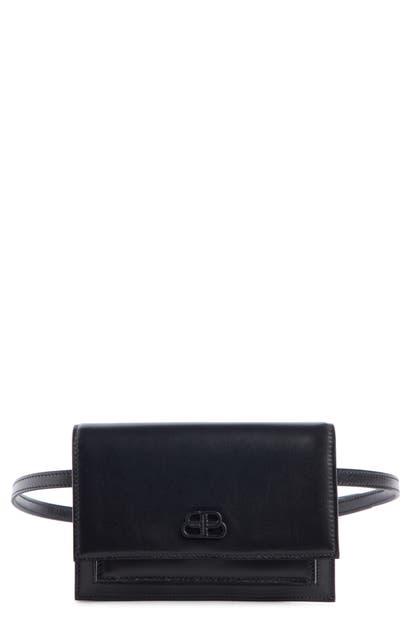 Balenciaga Extra Small Sharp Leather Belt Bag In Black