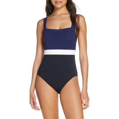 Tommy Bahama Colorblock Square Neck One-Piece Swimsuit, Black