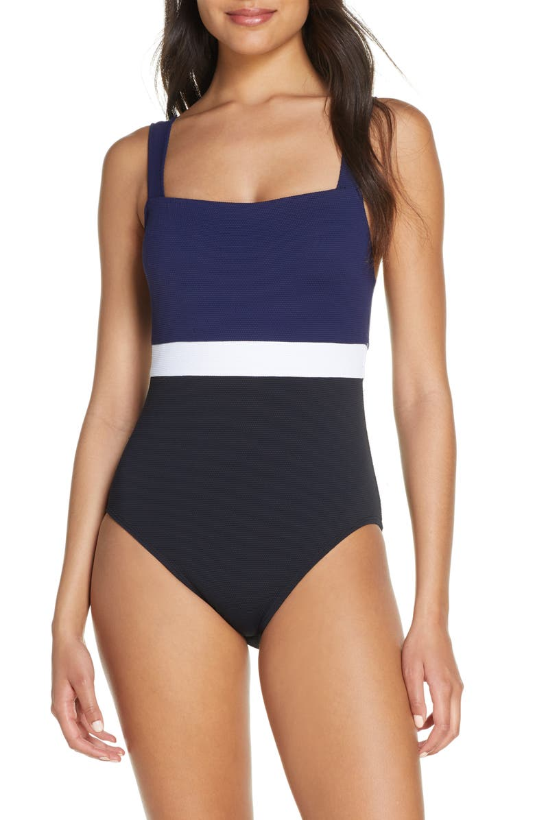 TOMMY BAHAMA Colorblock Square Neck One-Piece Swimsuit, Main, color, BLACK