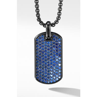 David Yurman Streamline Black Titanium Tag With Blue Sapphires