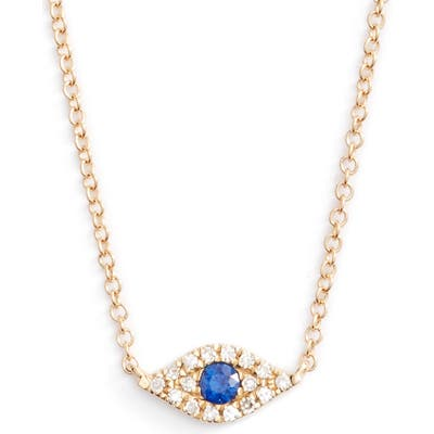 Ef Collection Evil Eye Diamond & Sapphire Pendant Necklace