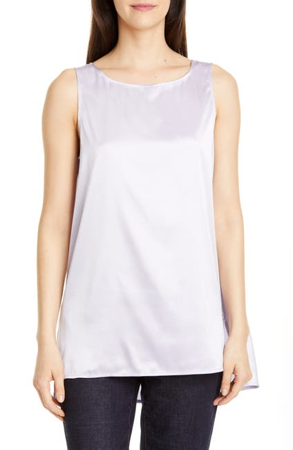 Image of Eileen Fisher High/Low Silk Stretch Shell