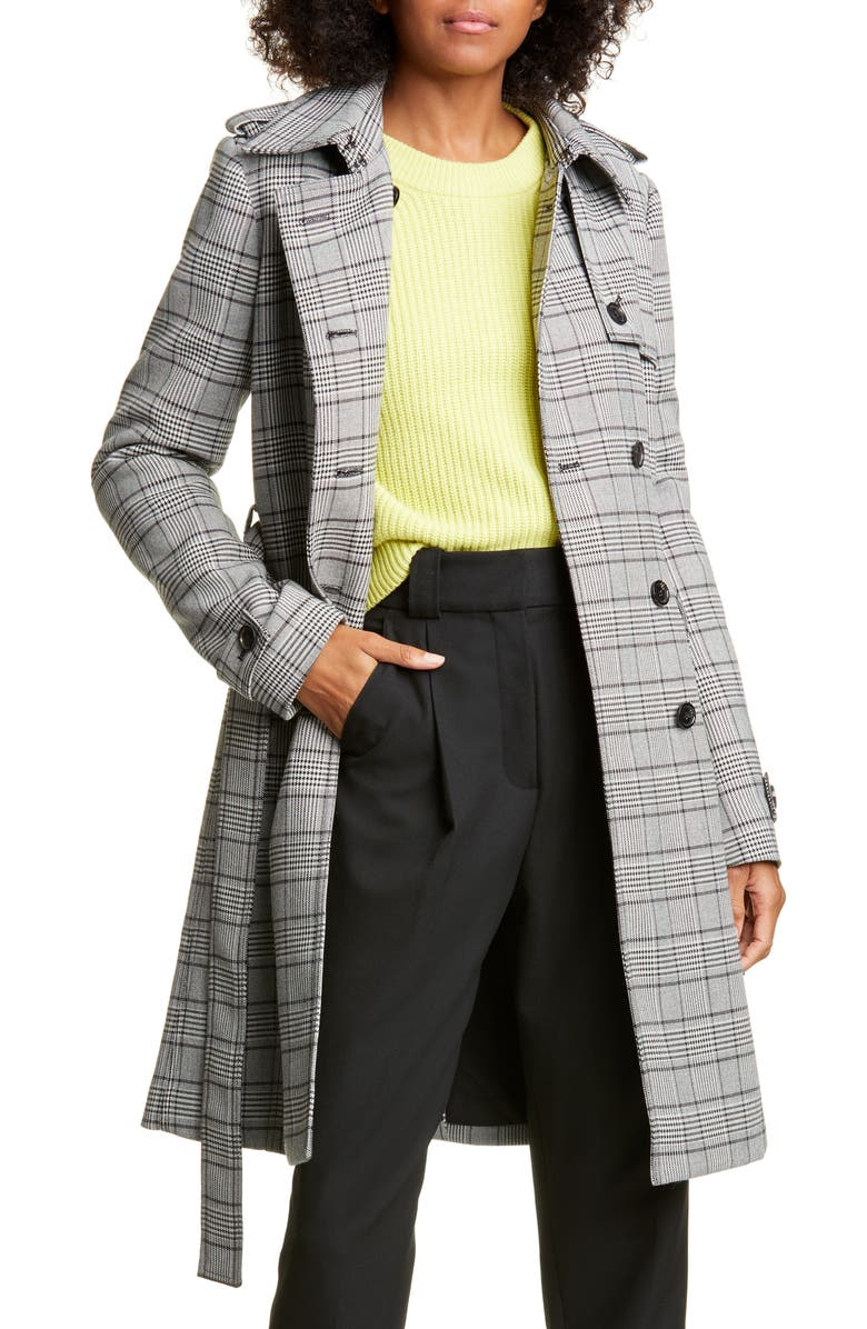 A.L.C. Baldwin Glen Plaid Double Breasted Coat, Main, color, CREAM/ BLACK