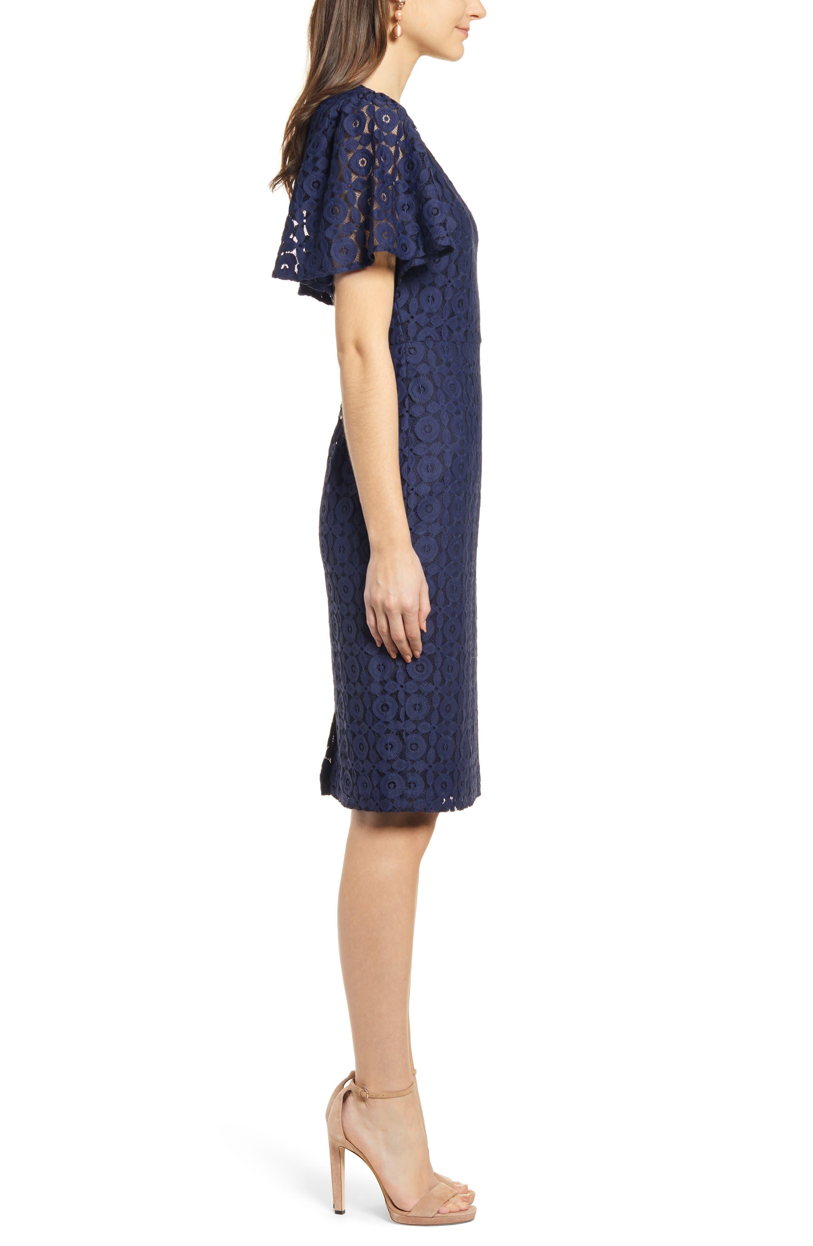 ,                             Flutter Sleeve Lace Sheath Dress,                             Alternate thumbnail 4, color,                             NAVY PEACOAT