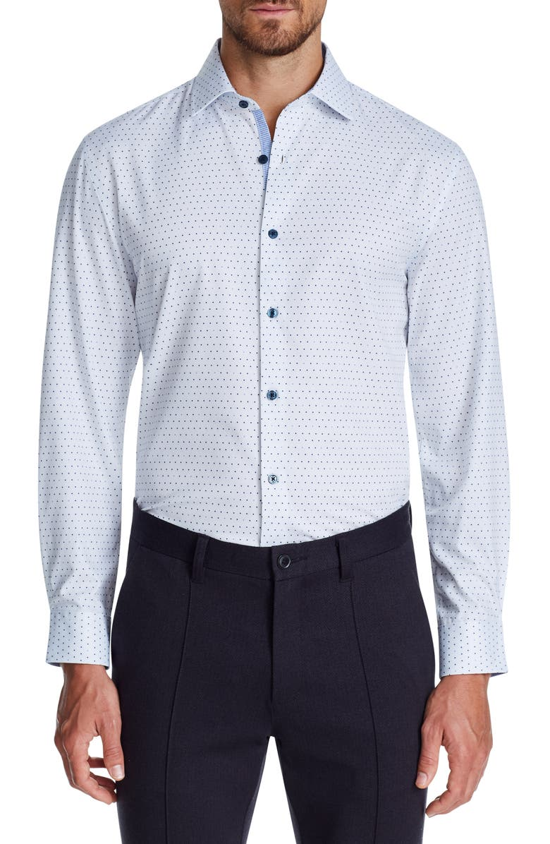 W.R.K Trim Fit Performance Stretch Dot Dress Shirt, Main, color, WHITE