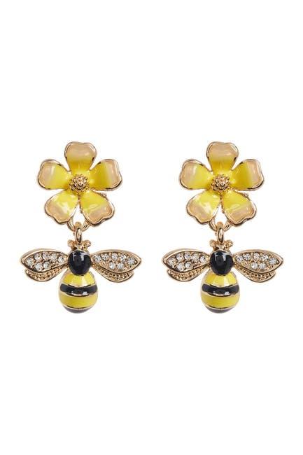 Image of Eye Candy Los Angeles Honeybee and Flower Earrings