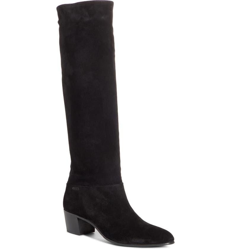 PRADA Knee High Boot, Main, color, BLACK